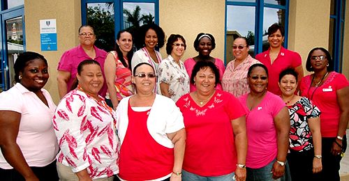 Immigration officers and administrative staff sport pink.